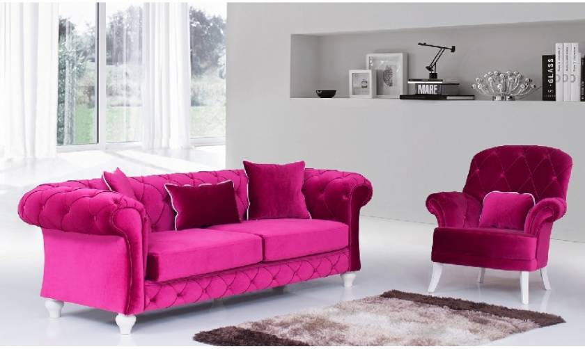 Light Red velvet chesterfield sofa with armchair