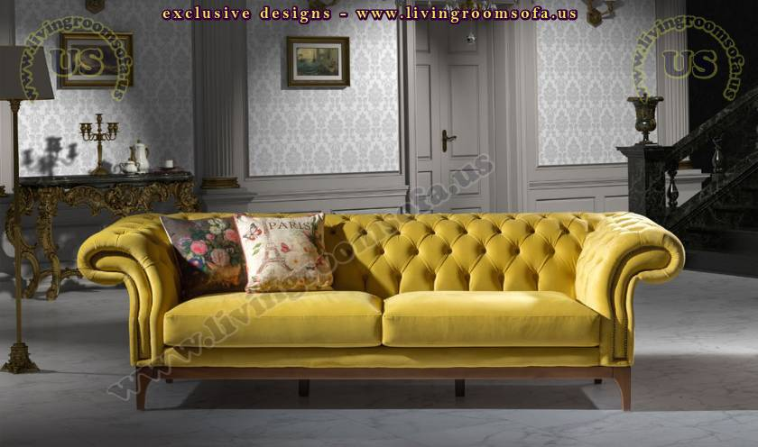 lux chesterfield sofa yellow fabric luxury living room