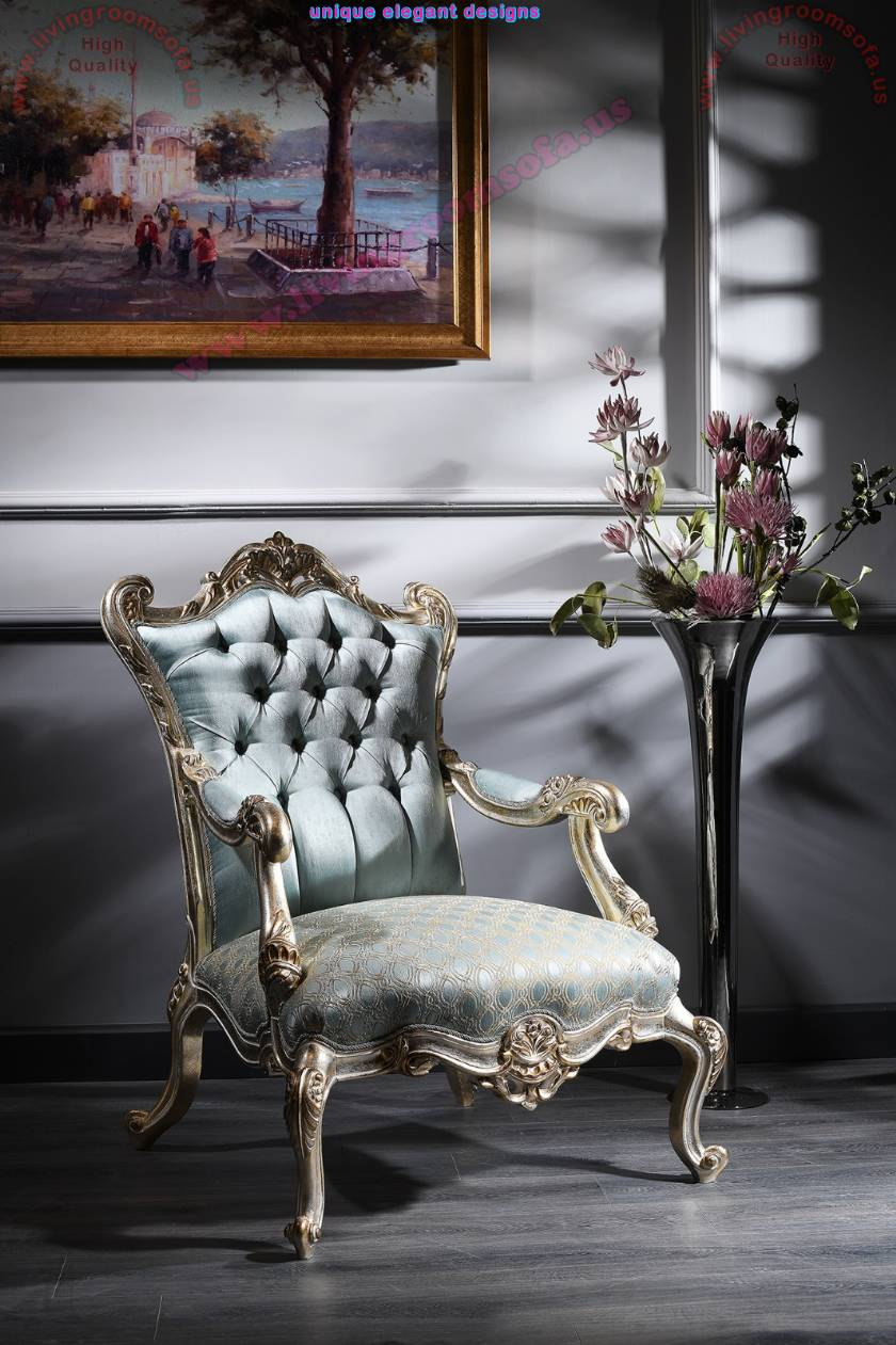 Luxurious chair  curved tufted elegance