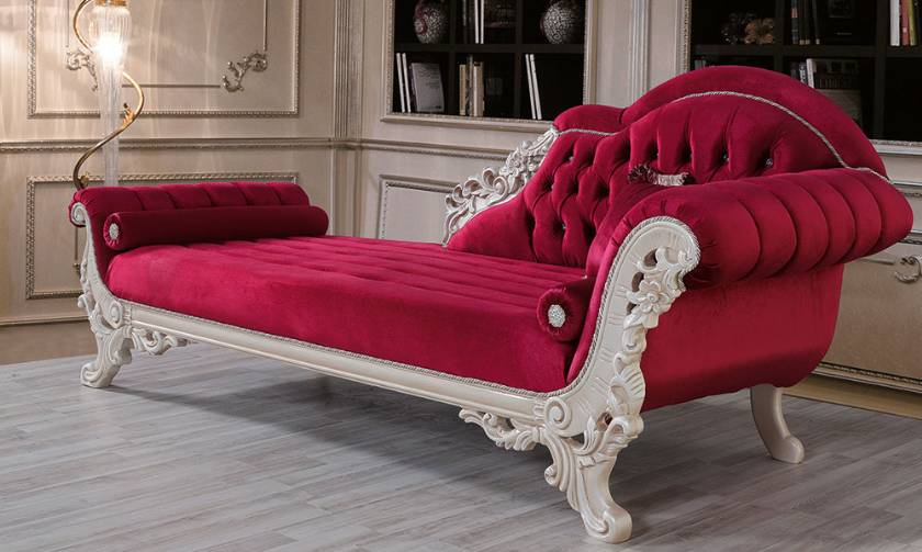 Luxury bedroom lounges curved carved chaise lounge velvet glossy