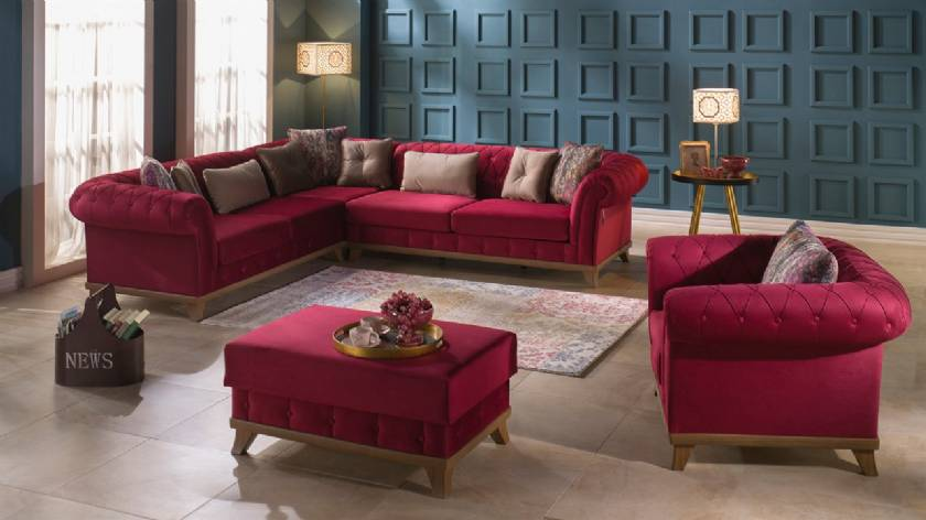 Luxury Chesterfield Corner Sofa Set Red Velvet