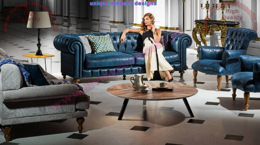 Luxury Chesterfield Sofa Set Tufted leather modern design