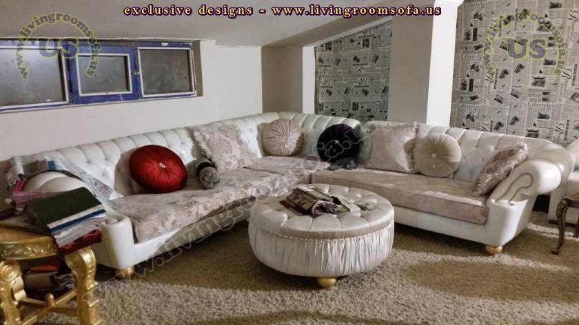 luxury chesterfield style sectional sofa elegant living room design