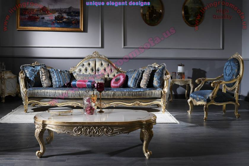Luxury Classic 4 Seaters Couch with Coffee Table Royal Design