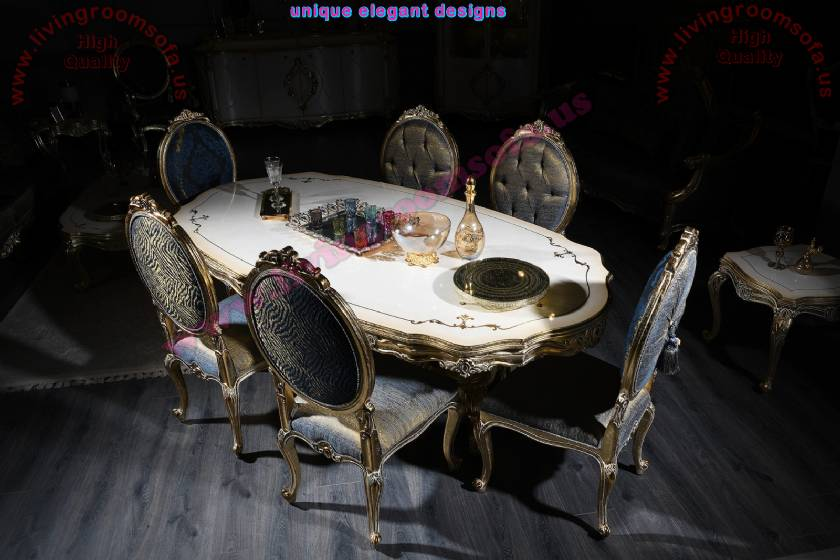 Luxury Classic Dining Table and 8 chairs Royal Art Deco Designs