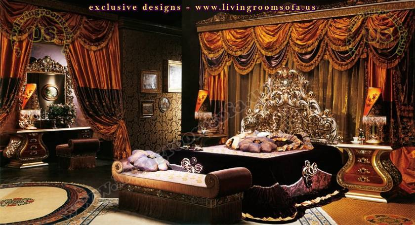 Luxury imperial wood carved bedroom furniture design