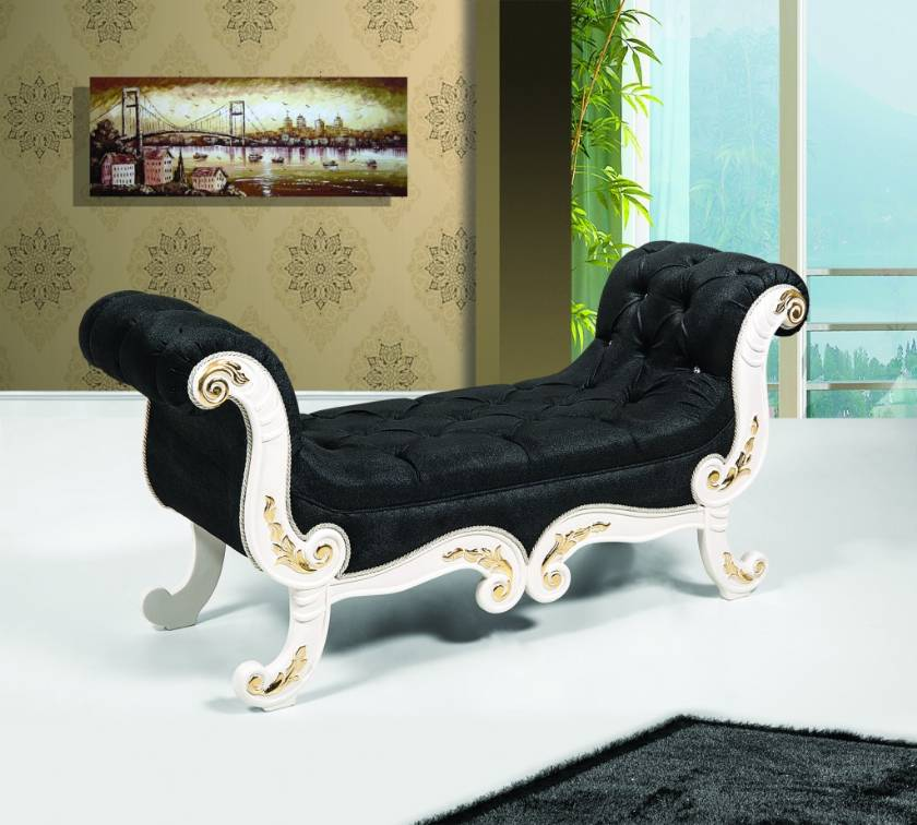 luxury interior desings black velvet bench chair carved