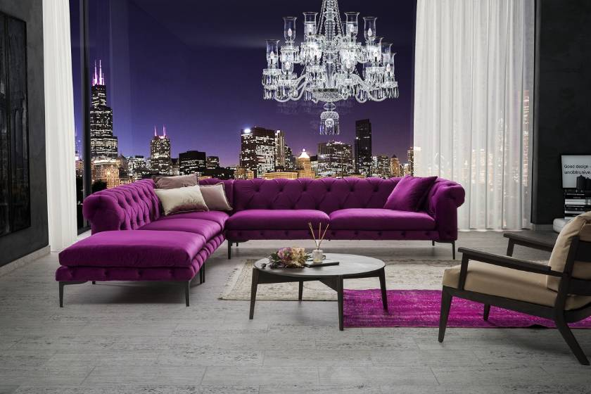 Luxury L sahped chesterfield sectional sofa Purple sofas with armchairs