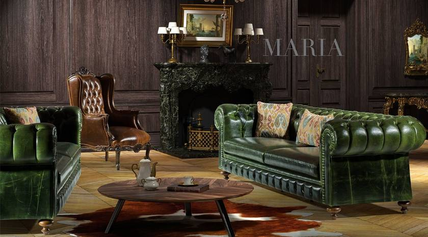 Luxury Leather Sofa Set Chesterfield sofa for living room
