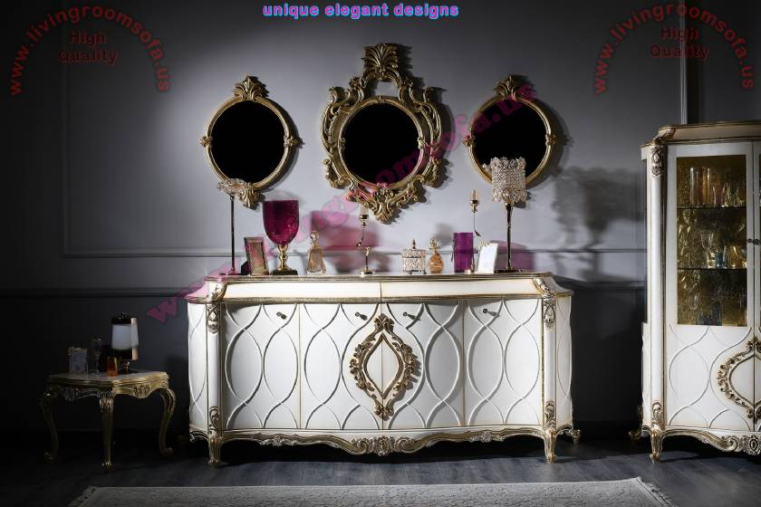 Luxury Living Room Console with 3 Wall Mirrors Royal Art Deco Design ...
