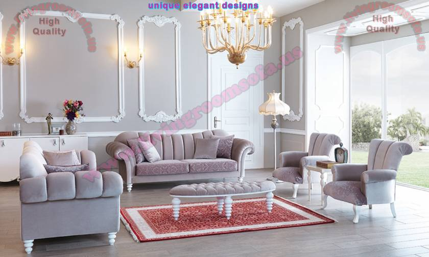 Luxury living room design chesterfield sofa and beautiful ottoman