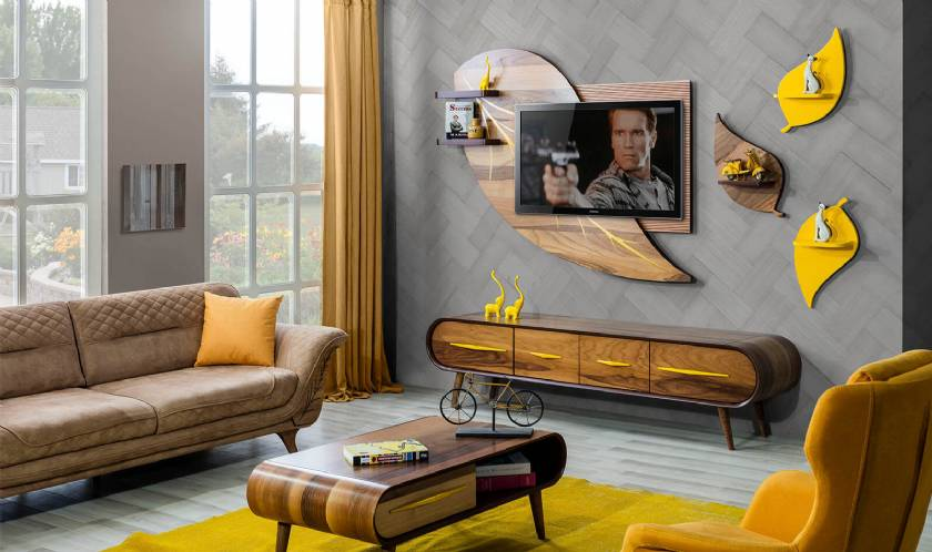 Luxury living room TV stand wall units coffee table sofa set new style