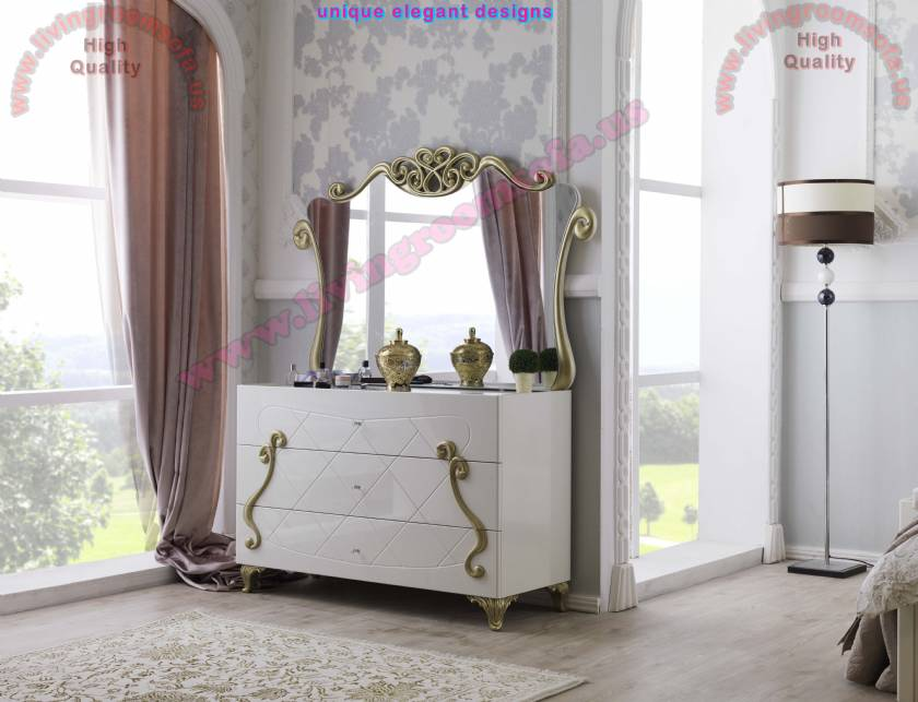 luxury mirrored chest of drawers white lacquer and Embossed texture Bedroom Furniture design