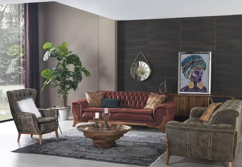 Luxury Modern Chesterfield Sofa Set for Living Room