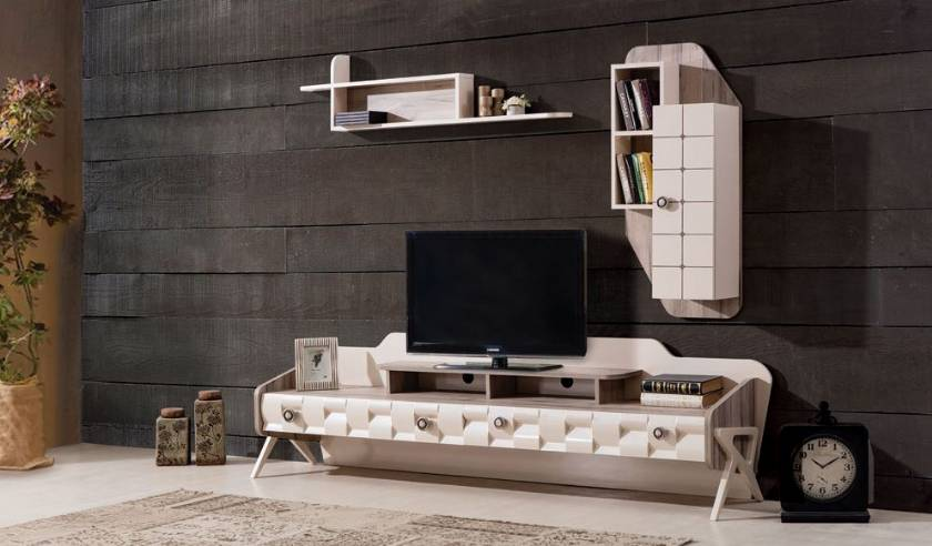 Luxury modern living room TV wall unit in cream white ultra modern