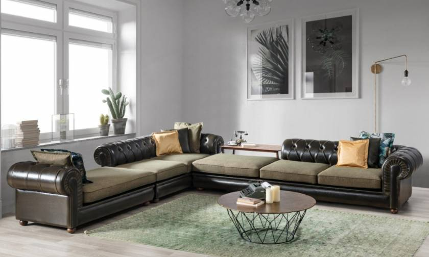 Luxury new style chesterfield corner sofa leather corner sofa