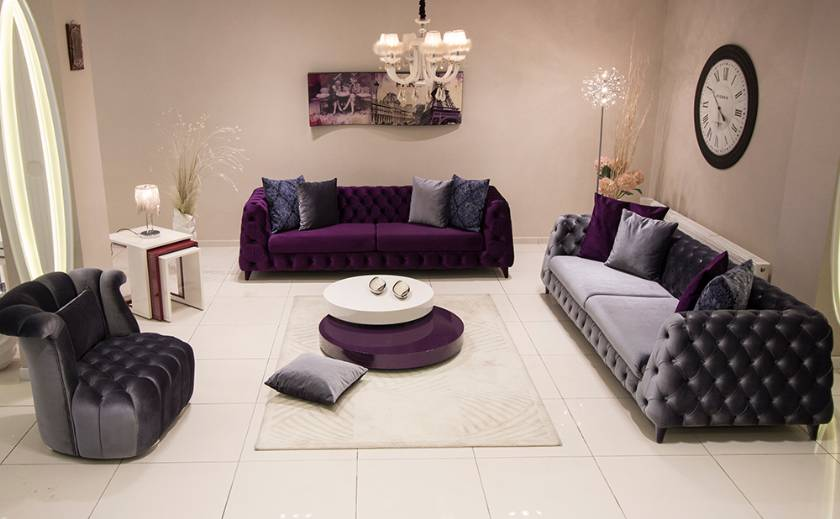 Luxury purple velvet chesterfield sofa set new style purple sofa design for living room
