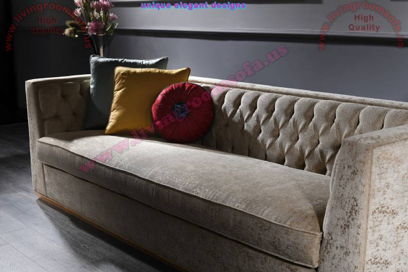 luxury sofa design velvet fabric and quilting works rounded and square pillows