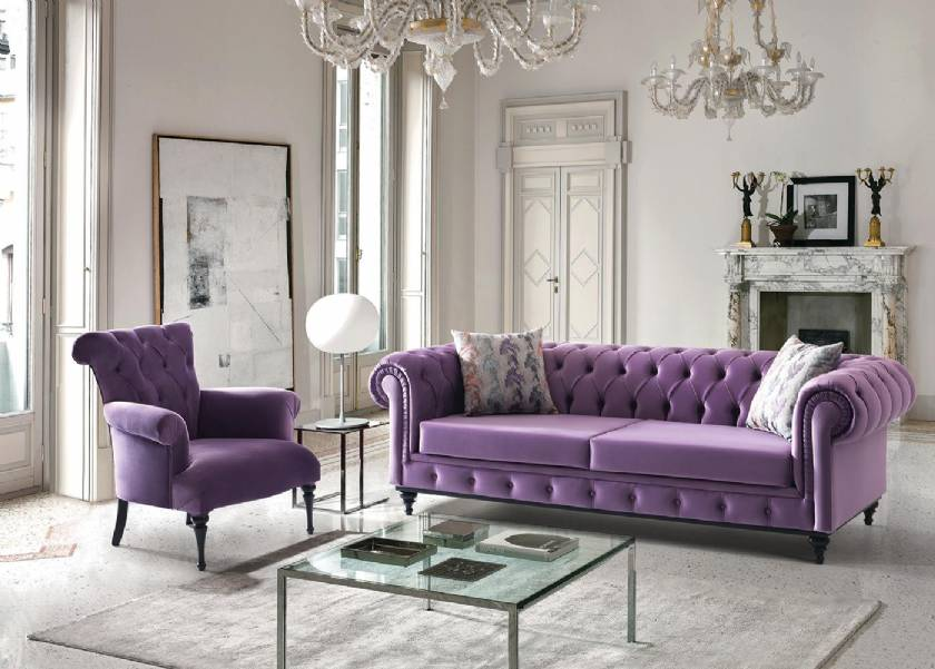Medium Purple Chesterfield Sofa with chair for small spaces