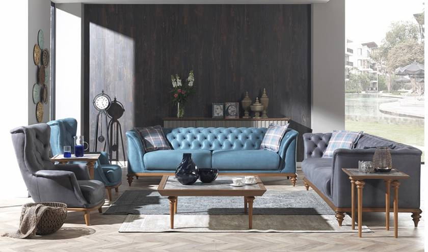 modern black blue gray leather sofa set for living room luxury designs