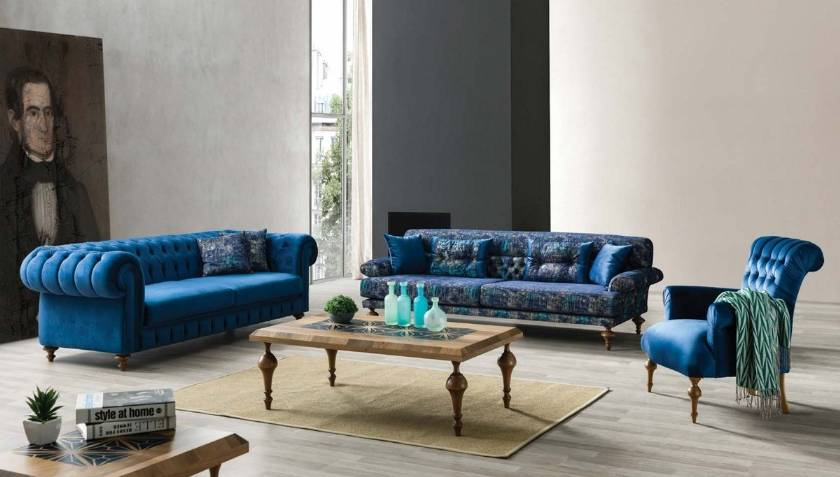 Modern Boutique Chesterfield Sofa Set New Style Luxury Living Room