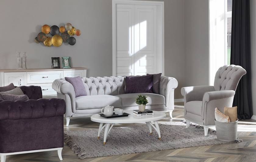 Modern Chesterfield Sofa with armchair New Style Luxury