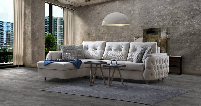 Modern Corner Sofa Design Small size and quilted