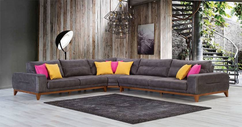 Modern farge leather fabric V Shape sectional sofa luxury elegance
