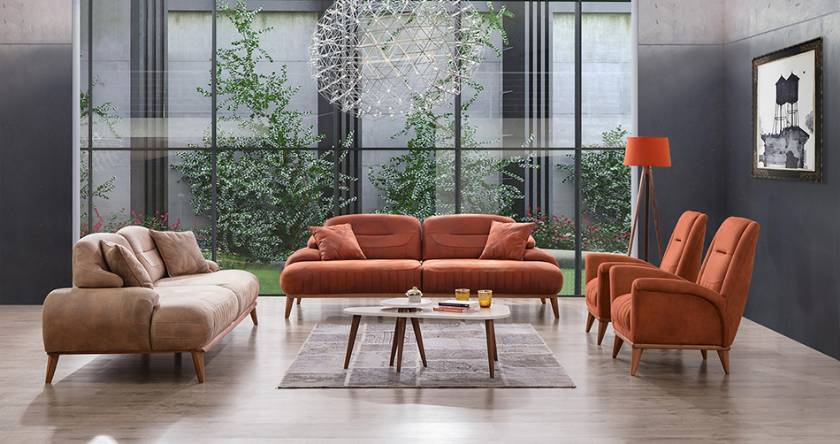 modern leather sofa set modern living room ideas with brown fabrics