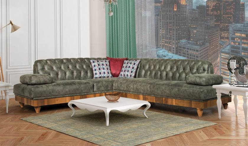 modern luxury chesterfield corner sofa dark green living room corner sofa