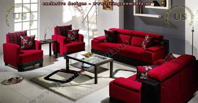 modern sofa set red fabric 4 pieces