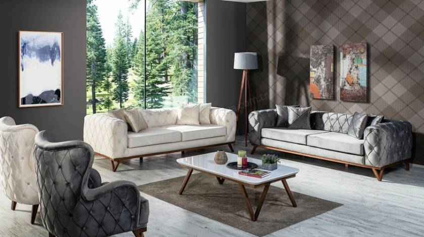 modern sofa sets living room luxury quilted sliced design