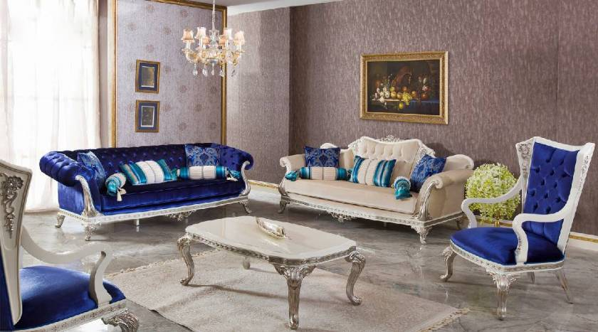 Modern traditional chesterfield sofa set blue and white cool design