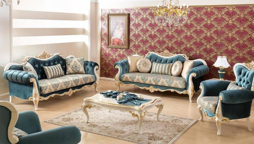 Modern Traditional Luxury Living Room Furniture Sofa Set Exposed Carved Wood Frames