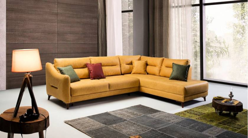Modern yellow L spahe sectional sofa small spaces small modern sectionals