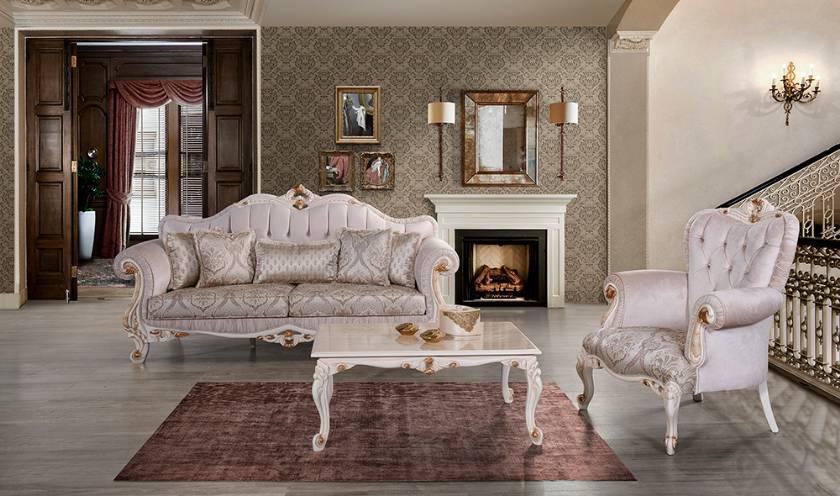 Moderne Wohnlandschaft Ledersofa und Klassische Sofa Antik Stil Ecksofa