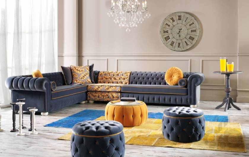 Nice and Cool Chesterfield corner sofa and poufs new style