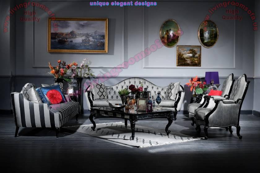 Pasha Art deco living room sofa set Handwork Elegance design