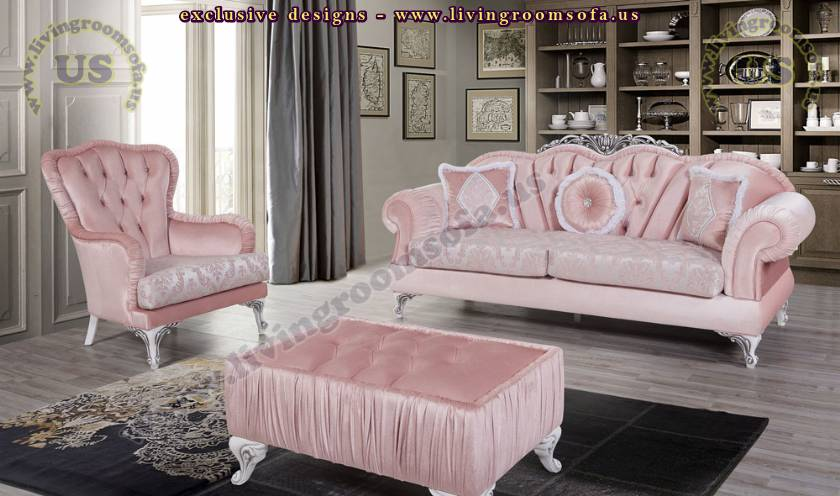 pink fabric retro living room sofa set