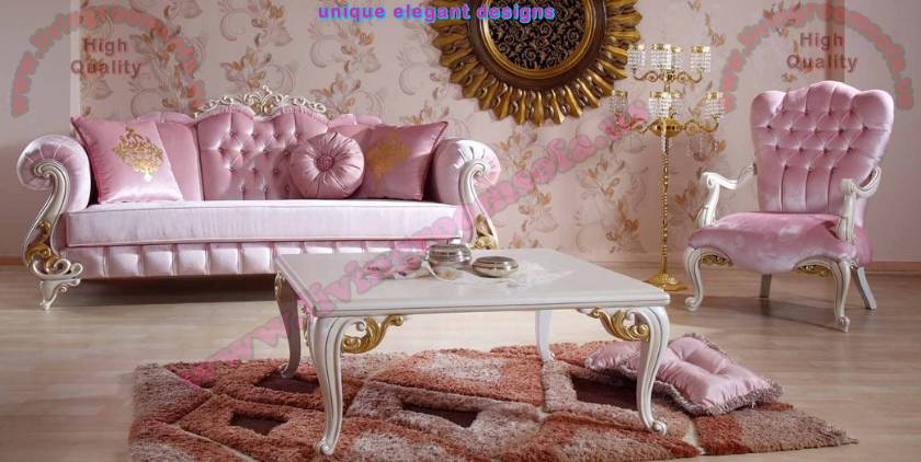 Pink Princess classic sofa set fabulous design for living room