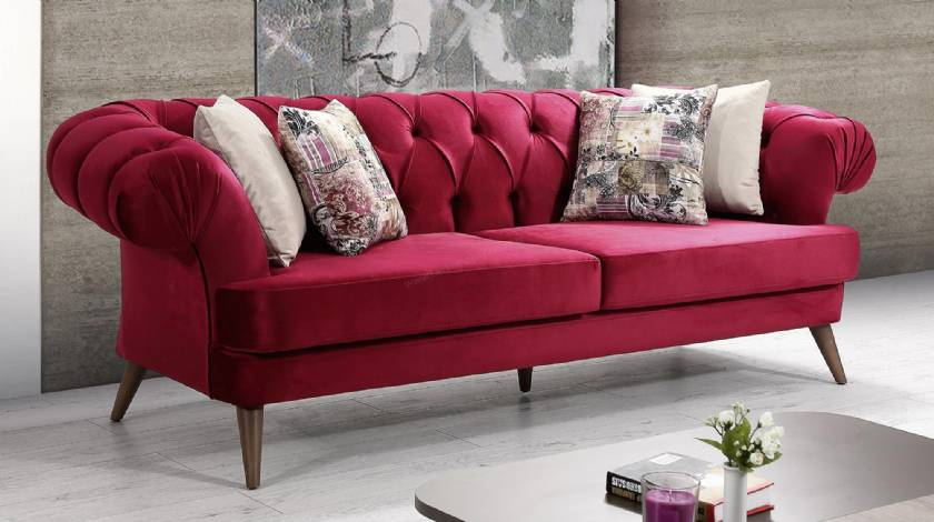 Pompano Beach Red velvet chesterfield couch loveseat