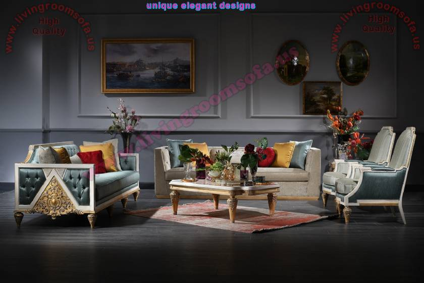 Princess Classical art deco sofa sets for living room concept luxury handmade