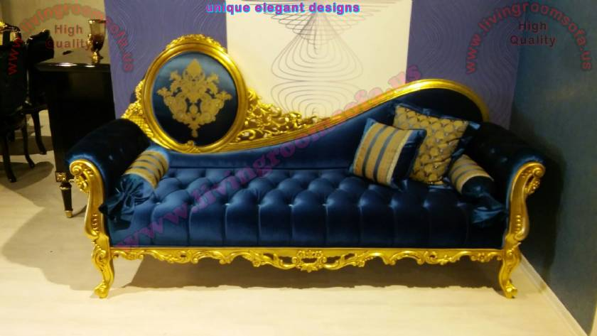 Princess Loveseat Gold Leaf Carved Wooden and Navy Velvet Quilted Stylish Perfect hand work