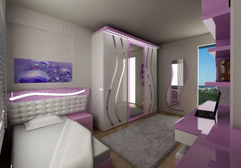 Purple and White Teen Girls Bedroom Design Modern Style