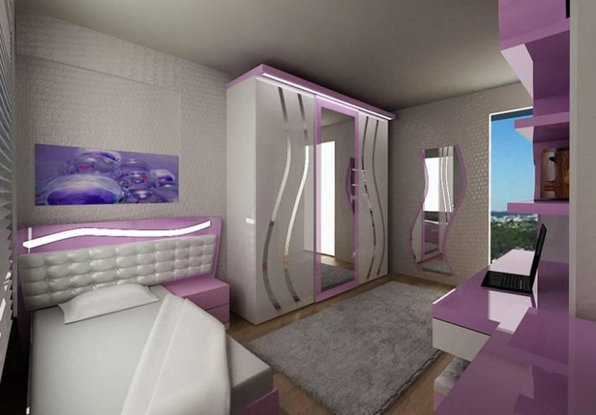 Purple and White Teen Girls Bedroom Design Modern Style