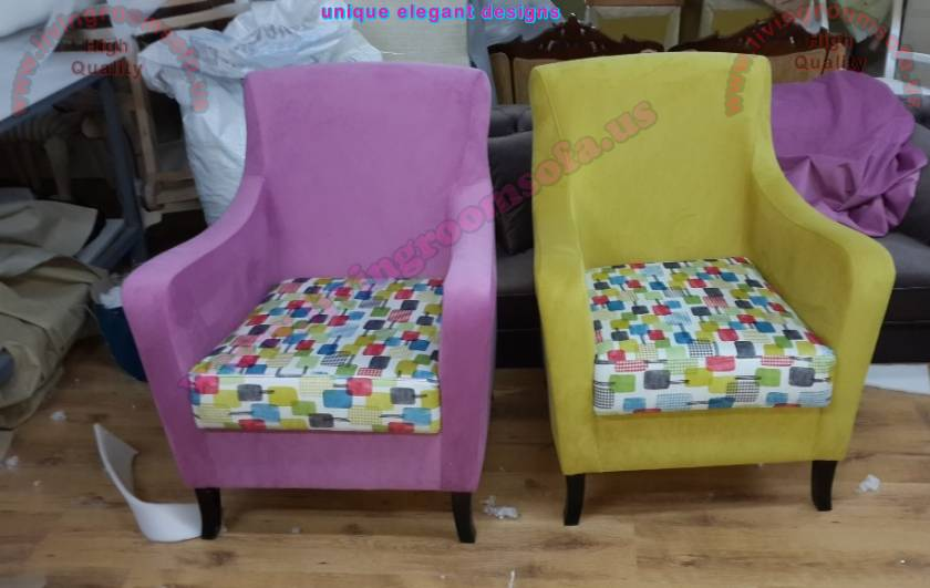 Purple and Yellow couple modern chairs unique designs