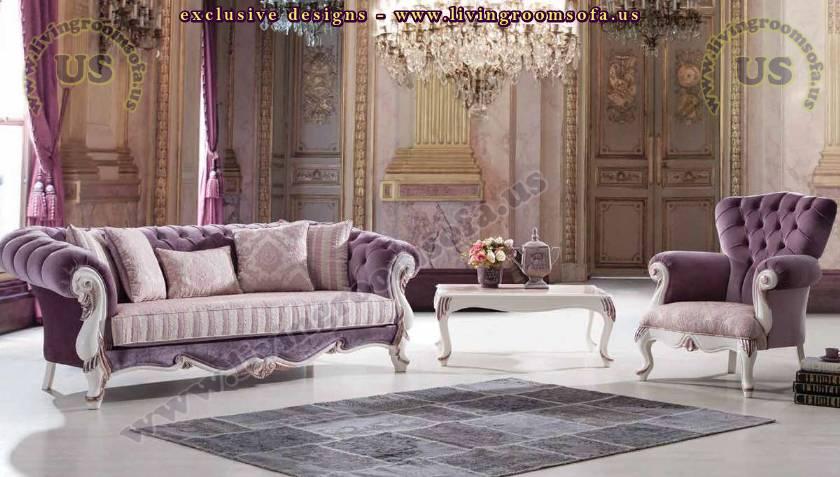 purple chesterfield sofa set luxury living room