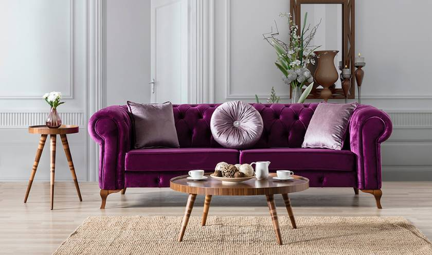 purple luxury chesterfield sofa couch cool classic style velvet