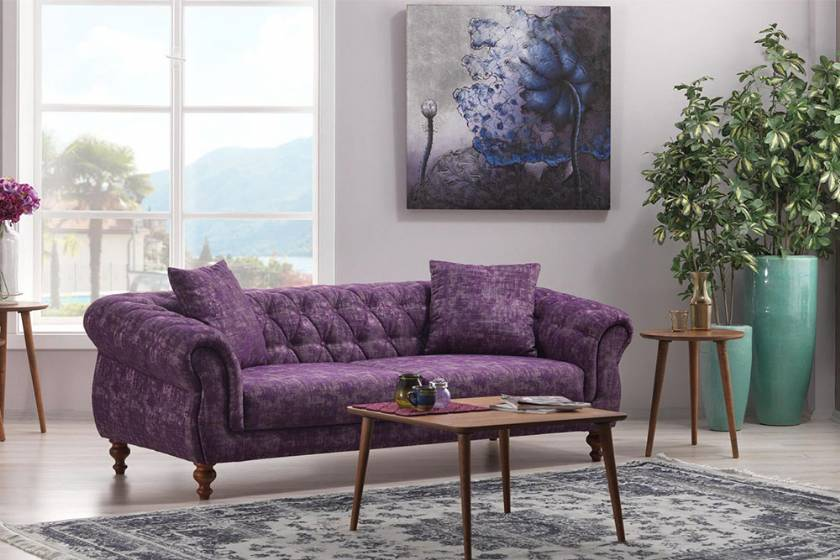 Purple Modern Couch Modern sofa Small space sofas