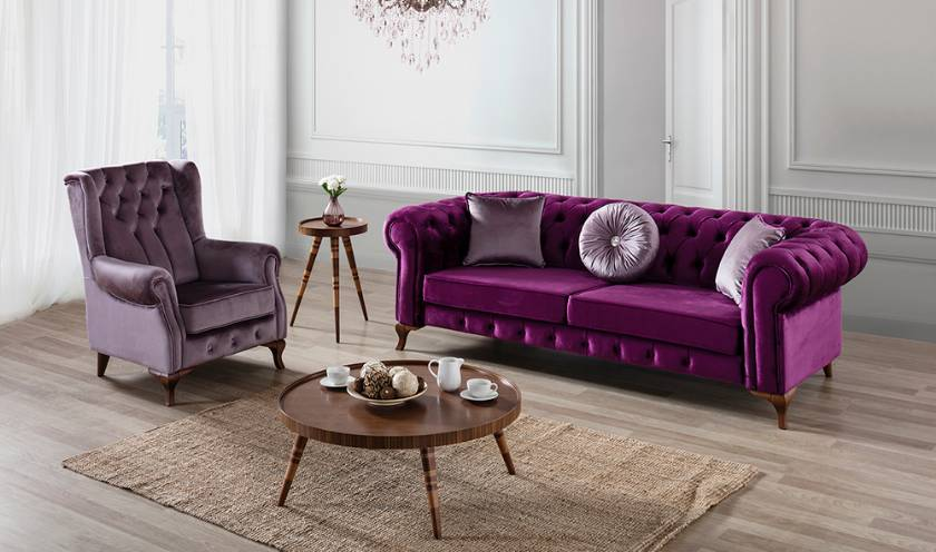 Purple velvet chesterfield sofa purple luxury chesterfield loveseat couch and sectional